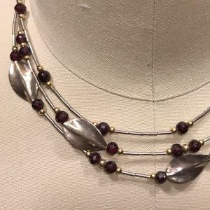 Anthropology vibe.925 garnet necklace earrings set